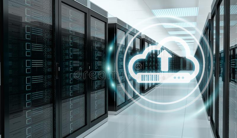 Cloud icon downloading datas in server room center 3D rendering stock illustration
