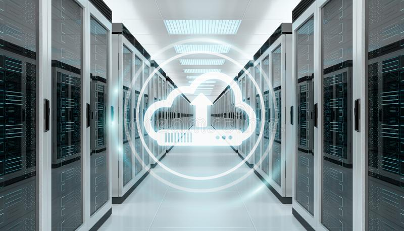 Cloud icon downloading datas in server room center 3D rendering royalty free illustration