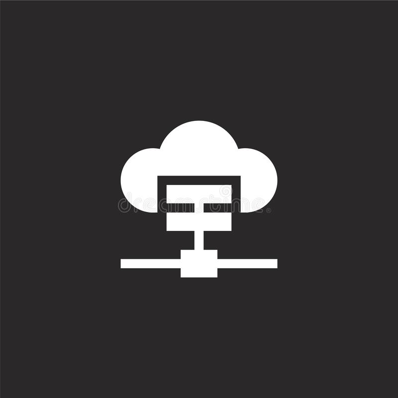 Cloud icon. Filled cloud icon for website design and mobile, app development. cloud icon from filled media technology collection. Isolated on black background vector illustration