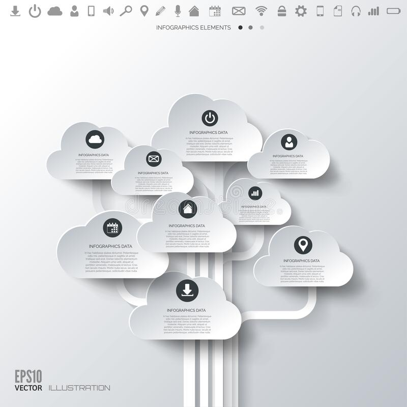 Cloud icon. Flat abstract background with web icons. Interface symbols. Cloud computing. Mobile devices.Business concept.  vector illustration