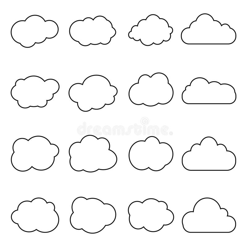 Cloud icon in line style. Set of art clouds shape in flat linear style. Outline simple black cloud of sky. Storage solution. Databases, software image, cloud vector illustration