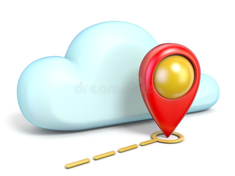Cloud icon with map pointer 3D. Rendering isolated on white background stock illustration