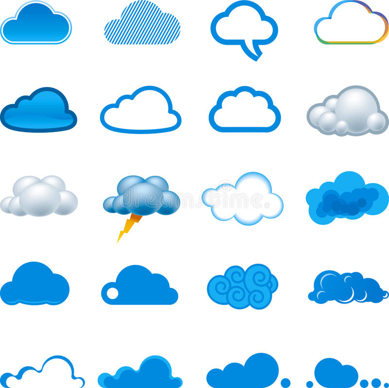 Cloud icon set. Vector illustration of cloud icon set. Global colors in vector file