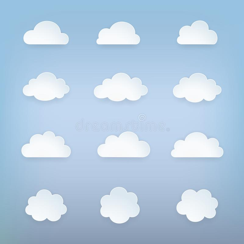 Cloud icon set. Group of sky elements. Cloud silhouettes collection. Isolated cloud symbol. Cute cartoon cloud icons. vector illustration