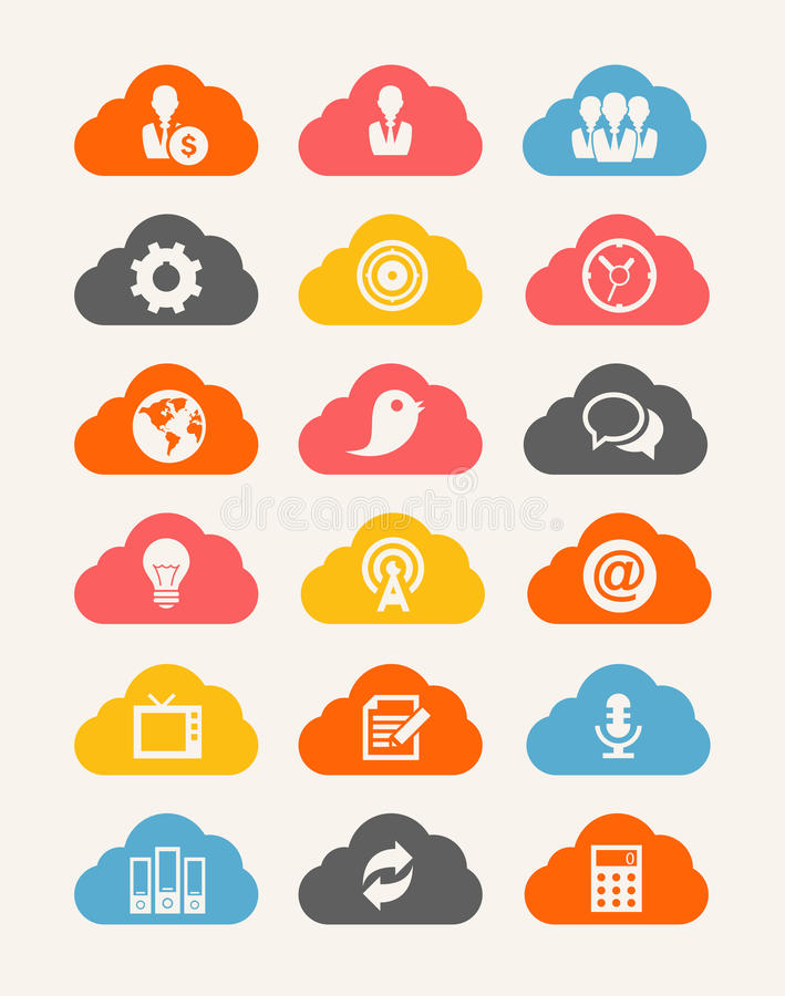 Cloud Icon Set Royalty Free Stock Images