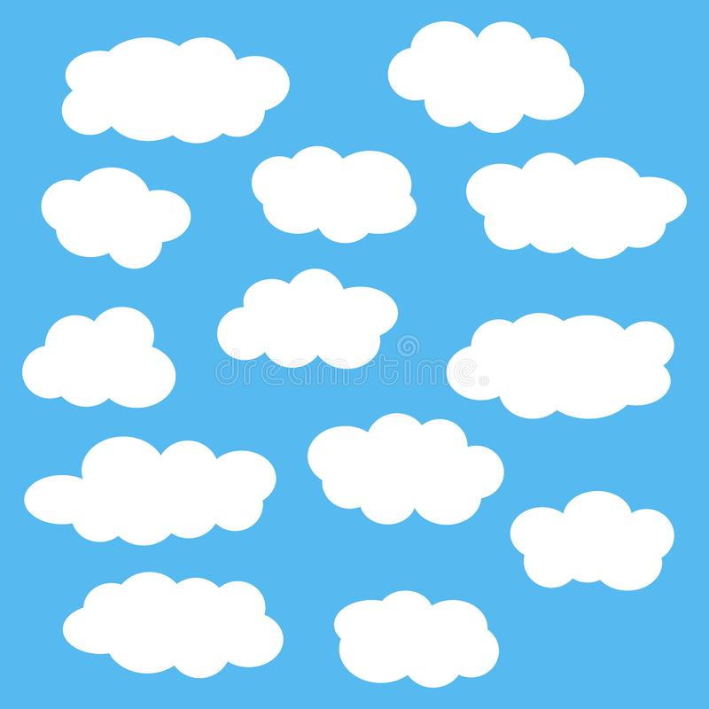 Cloud icon set, white clouds isolated on blue sky background, vector illustration. Cloud icon set, white different shape clouds isolated on blue sky background stock illustration