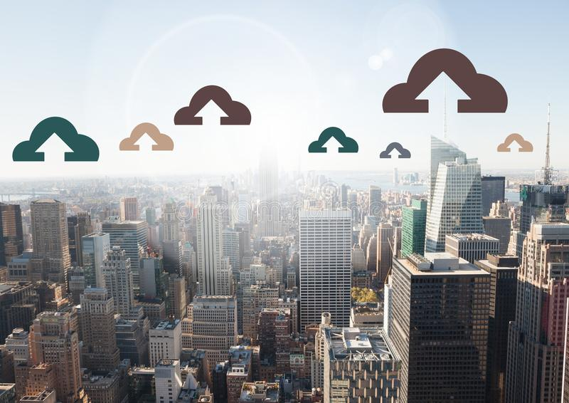 Cloud icons over city stock photography