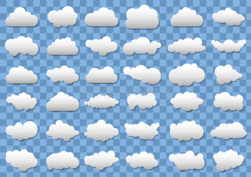 Cloud icons on transparent blue background. 36 different vector clouds. vector clouds. vector illustration