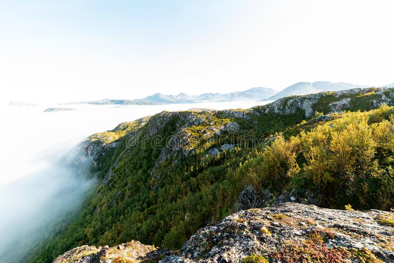 Cloud inversion. In the mountains stock image