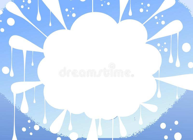 Cloud label on abstract background in blue tones royalty free illustration