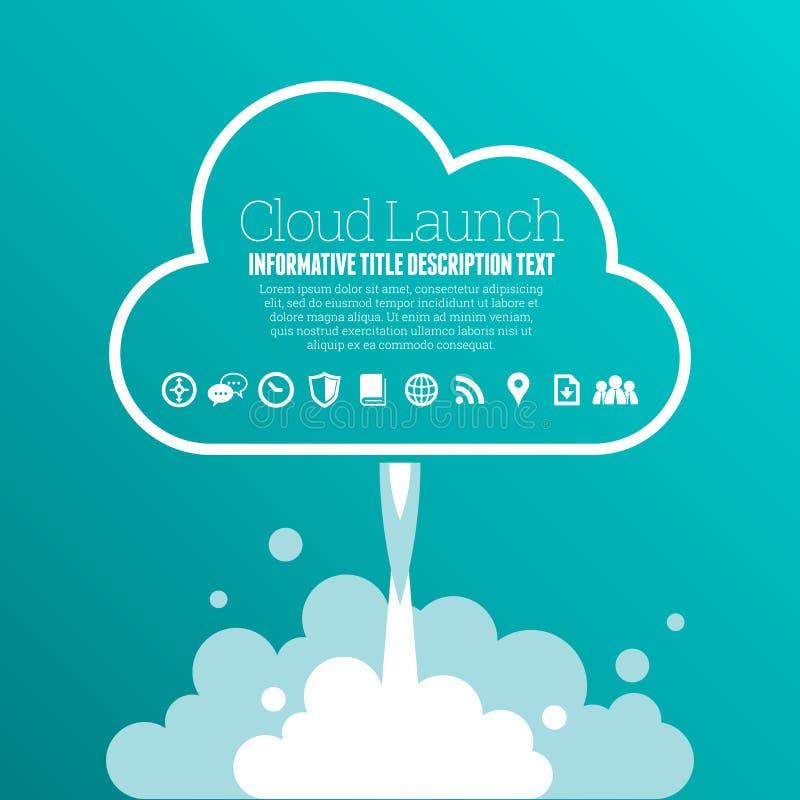 Cloud Launch Copyspace. Vector illustration of cloud launch copyspace design elements vector illustration