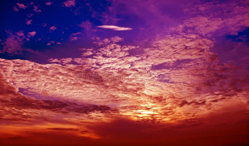 Cloud layer and sky in sunset. Cloud layer and blue sky stock image