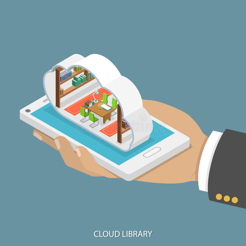 Cloud library flat isometric vector concept. Mans hand takes a smartphone with libary with shelves of books inside a cloud. Reading, learning online royalty free illustration