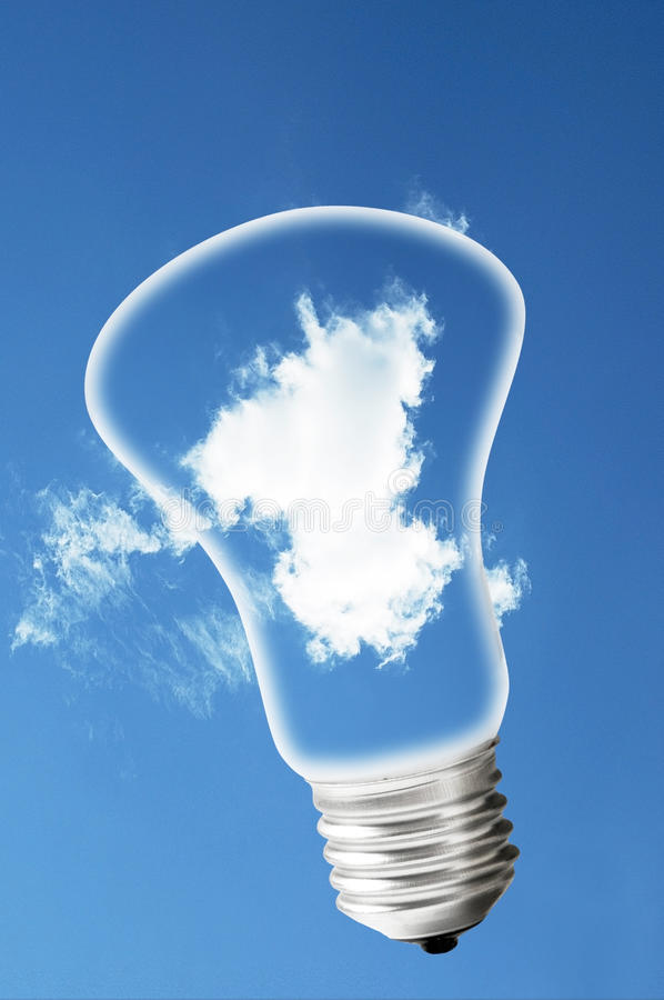 Cloud in a Light Bulb. Isolated on white with clipping path stock photos