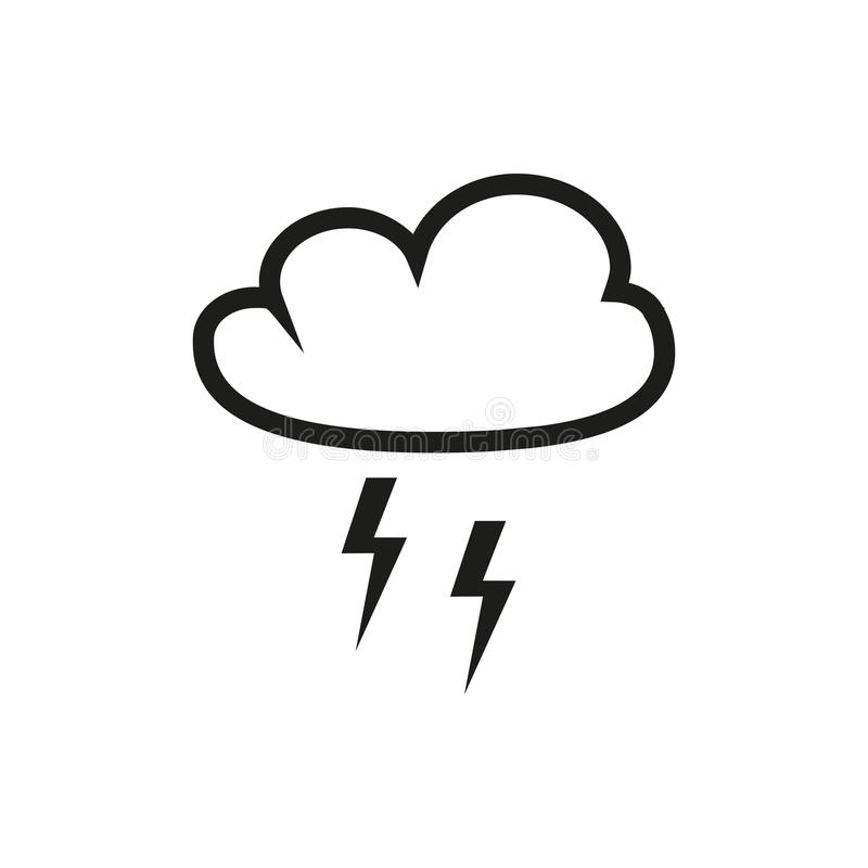 Cloud with lightning icon stock illustration