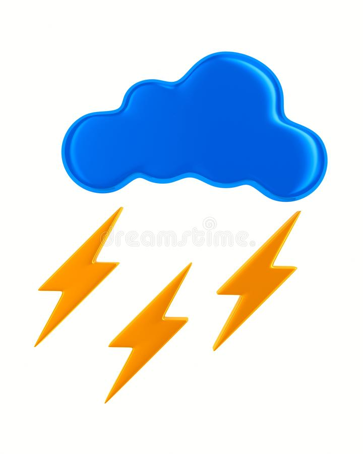 cloud and lightning on white background. Isolated 3D illustration vector illustration