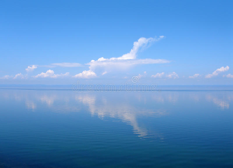 Cloud like plane, lake Baikal, Russia stock image