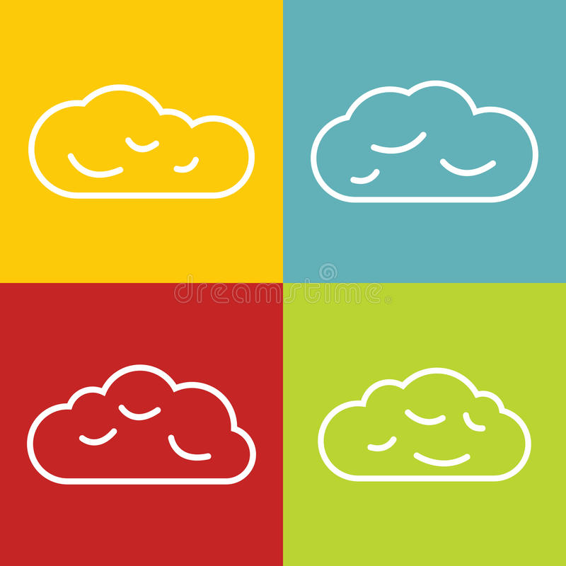 Cloud line icons on color background vector illustration