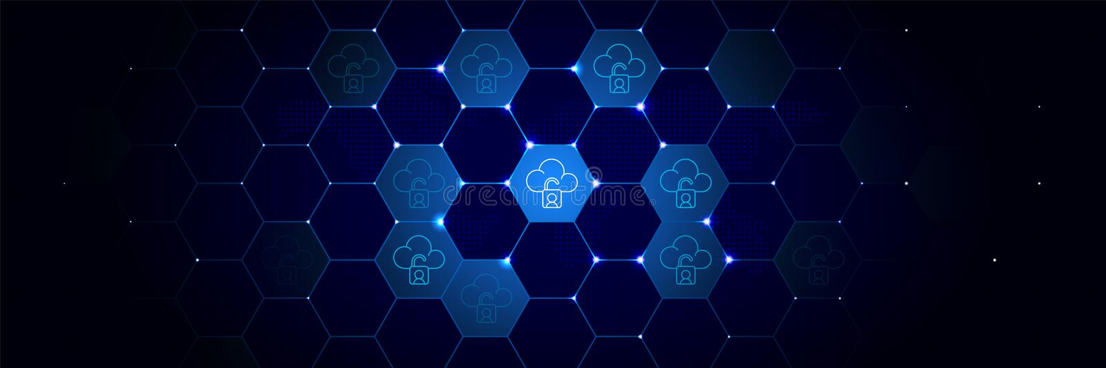Cloud, lock icon from General data project set in the technological. Comb background vector illustration