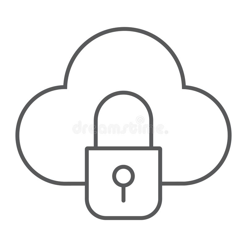 Cloud and lock thin line icon, data and protect, cloud security sign, vector graphics, a linear pattern on a white royalty free illustration