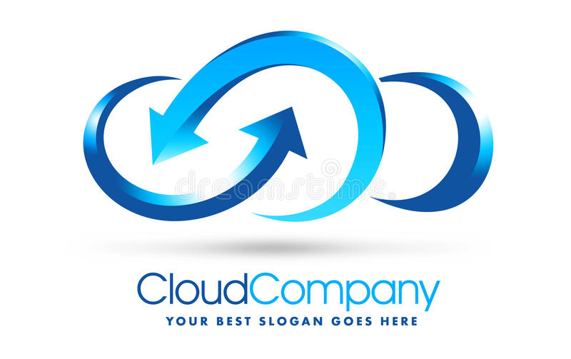 Cloud Logo. An illustration of a logo representing a cloud company logo in blue colors