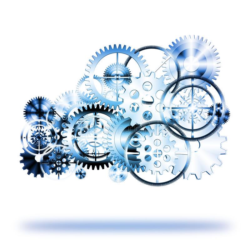 Cloud made by gears wheels stock illustration