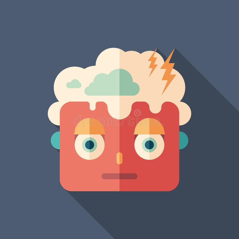 Cloud man face character colorful flat square icon with long shadows. stock illustration