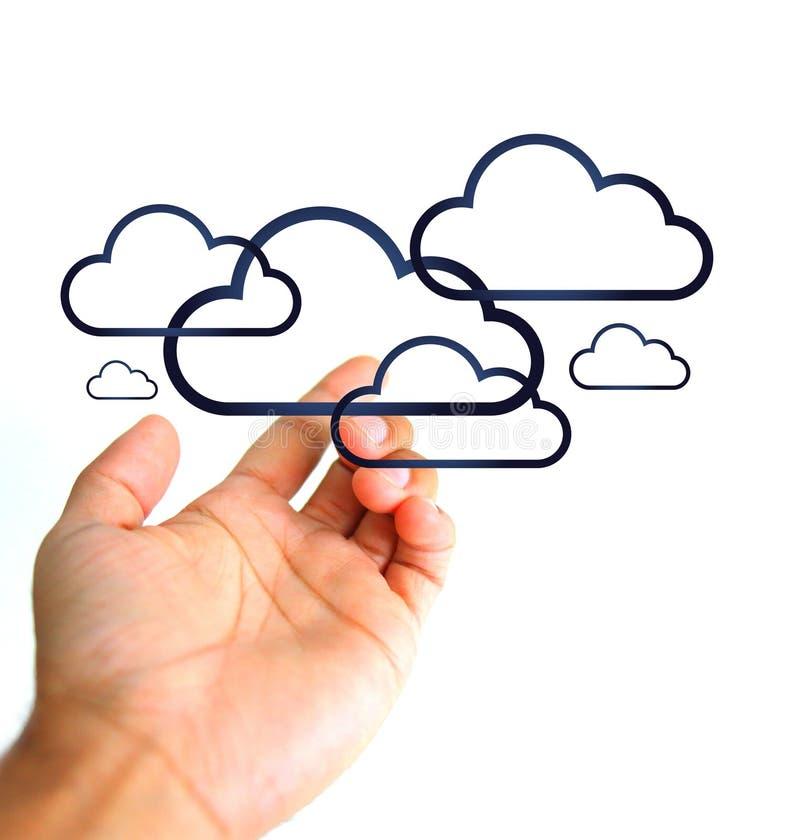 cloud meddelande resurser för begreppet för datoren beräknande lokaliserade bärbar dator Hand och moln royaltyfri illustrationer