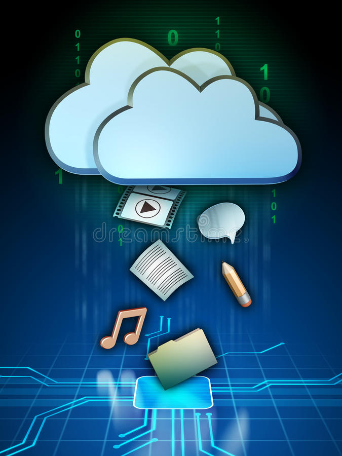 Cloud media. Different media files are being uploaded to a cloud storage system. Digital illustration stock illustration