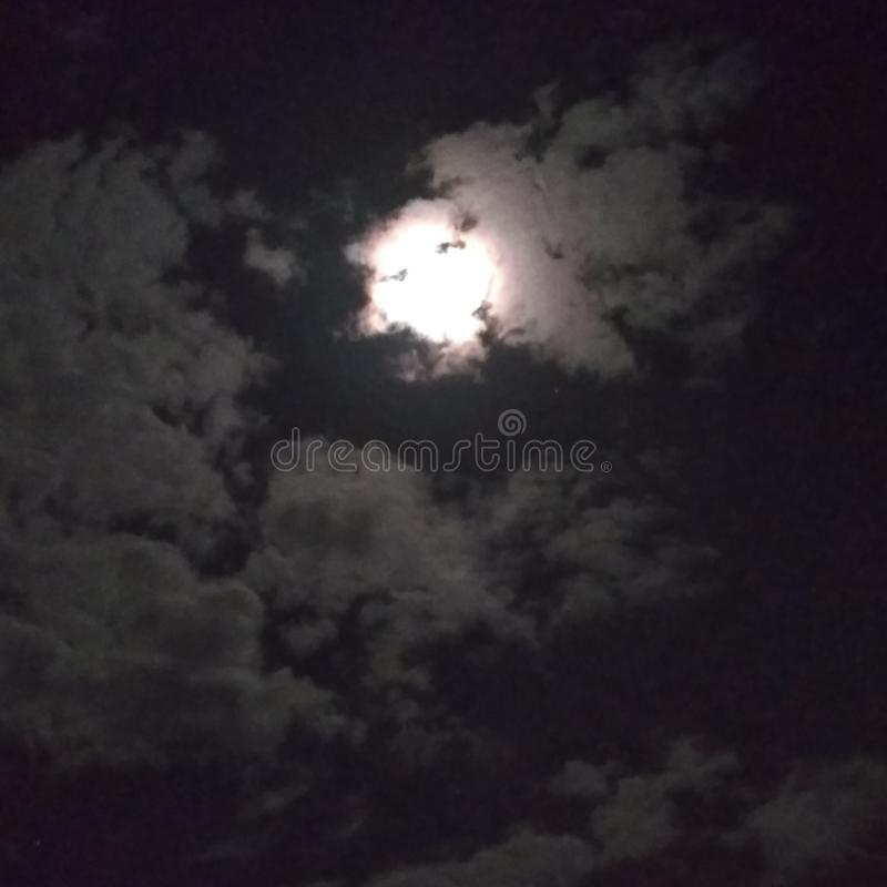 Cloud moon night face nature royalty free stock image