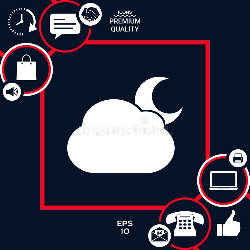 Cloud Moon Symbol Icon Stock Vector Illustration Of Cloudy 118732991