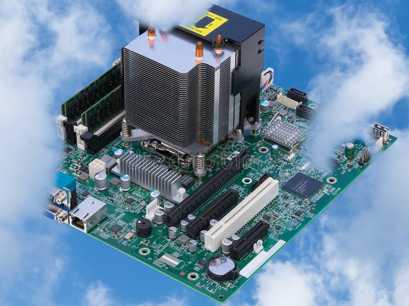 In the cloud motherboard from computer looks like city skyline stock images