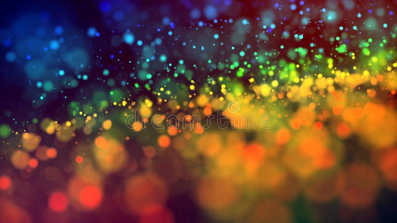 Cloud of multicolored particles in the air like sparkles on a dark background with depth of field. beautiful bokeh light stock image