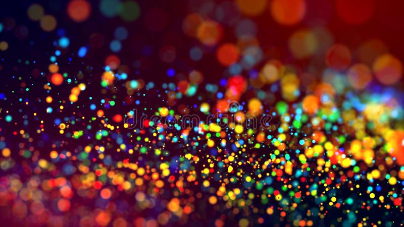 Cloud of multicolored particles in the air like sparkles on a dark background with depth of field. beautiful bokeh light royalty free stock images