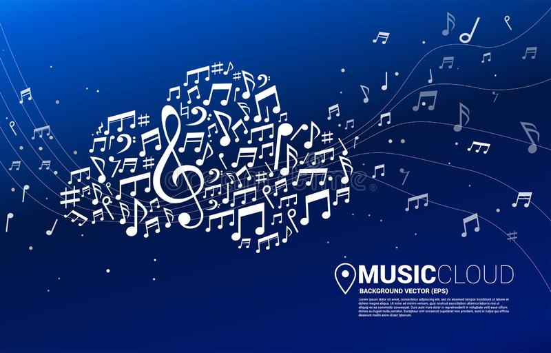 Cloud music and sound technology concept. royalty free illustration