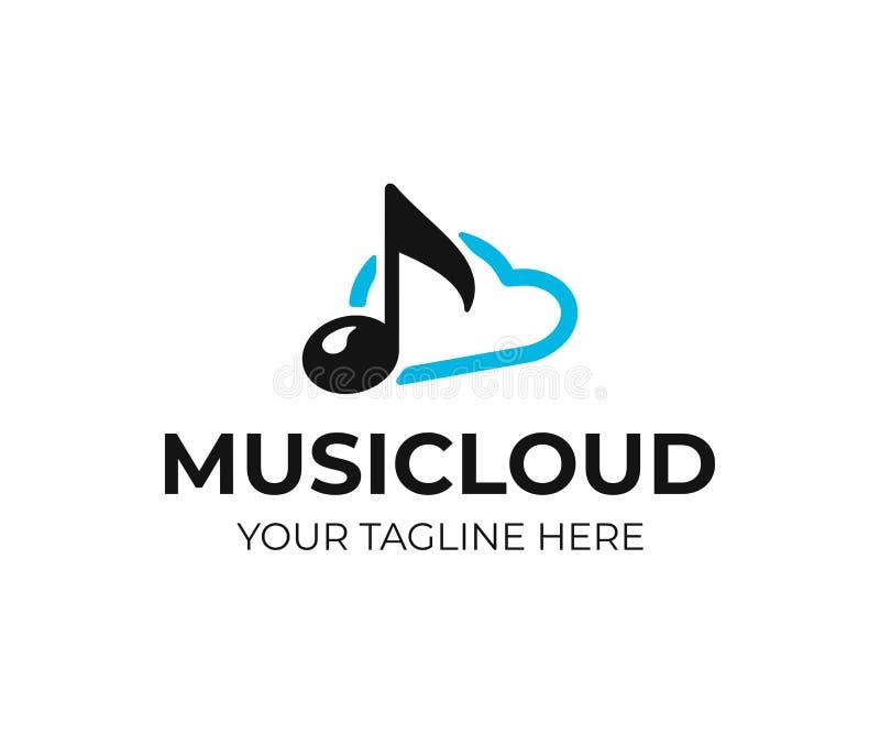 Cloud music storage logo design. Audio cloud vector design vector illustration