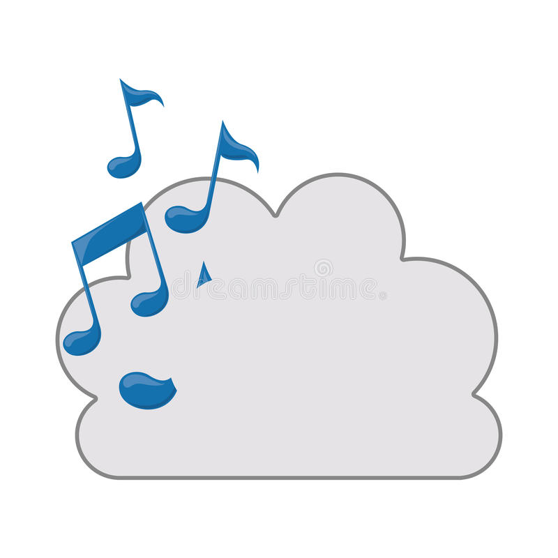 cloud with musical notes icon stock vector illustration of clear rh dreamstime com Music Note Clip Art Single Music Notes