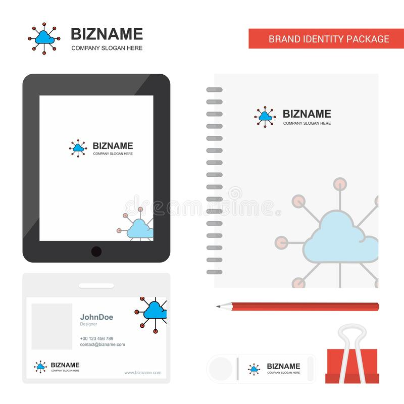 Cloud network Business Logo, Tab App, Diary PVC Employee Card and USB Brand Stationary Package Design Vector Template royalty free illustration