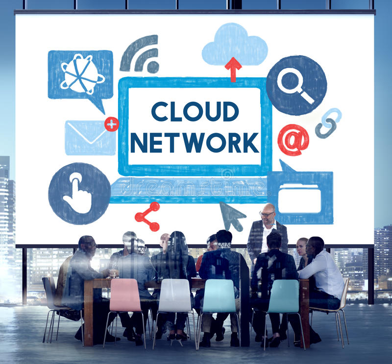 Cloud Network Dara Information Storage Sharing Technology Concept royalty free stock photos
