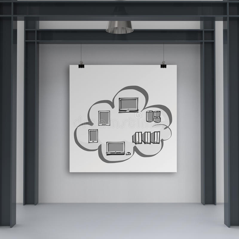 Cloud network diagram on poster. With composition wall as concept royalty free stock images