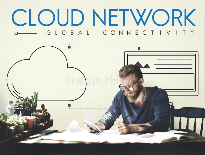 Cloud Network Global Connectivity Share Concept stock photo