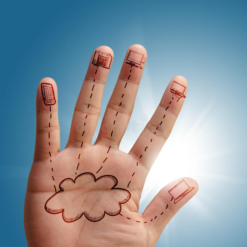 Cloud network in hand. As concept stock photos