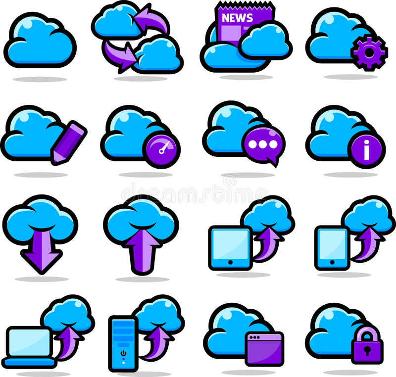 Download Cloud Network icons set stock vector. Image of presentation - 24516897