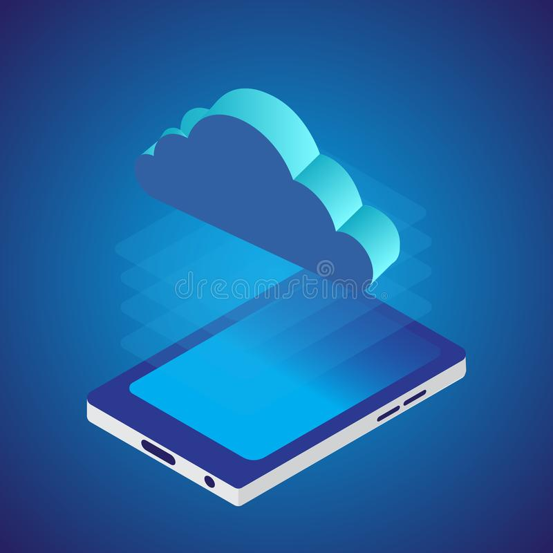 Cloud network with smart phone. Isometric style. Vector.  royalty free illustration