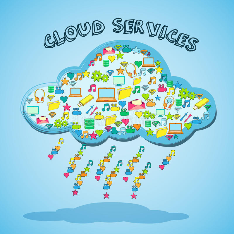 Cloud network technology service emblem stock illustration