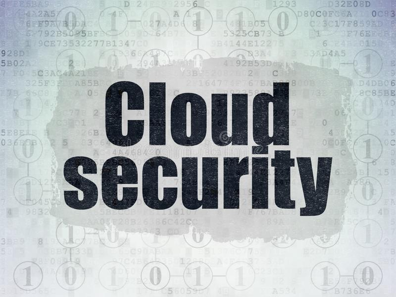 Cloud networking concept: Cloud Security on Digital Data Paper background. Cloud networking concept: Painted black text Cloud Security on Digital Data Paper stock illustration
