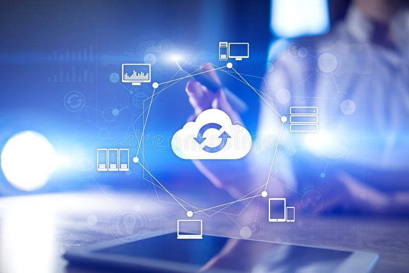 Cloud networking, Internet and modern technology concept on virtual screen. Cloud networking, Internet and modern technology concept on virtual screen royalty free stock photos