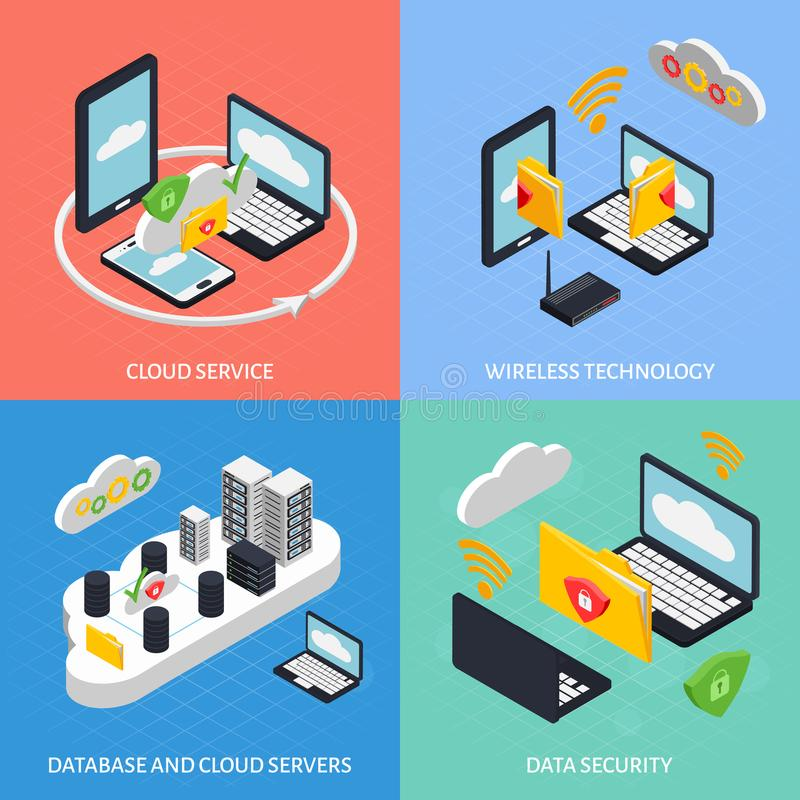 Cloud Office Concept Icons Set stock illustration