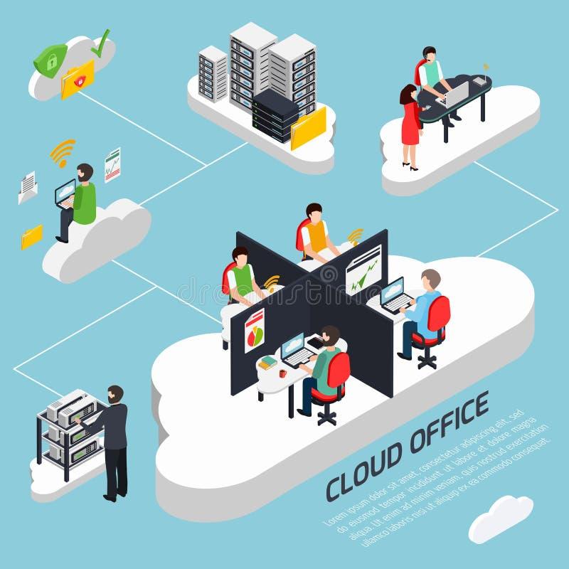 Cloud Office Isometric Background stock illustration