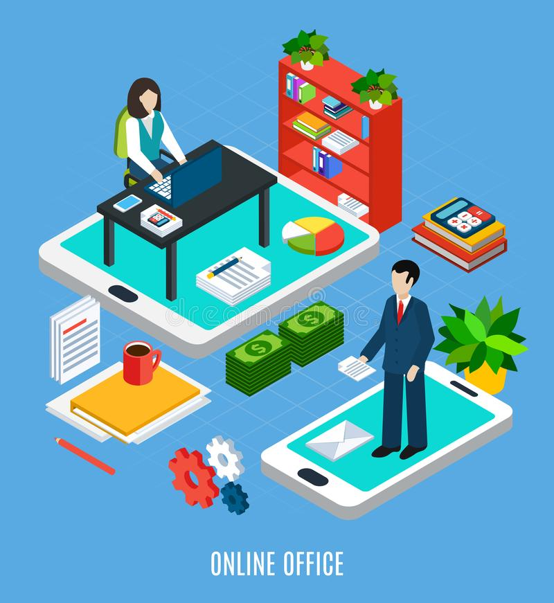 Cloud Office Isometric Concept vector illustration